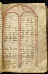 Canon tables, in the Bodmin Gospels